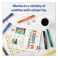 Avery MARKS A LOT Large Desk-Style Permanent Marker, Broad Chisel Tip, Assorted Colors, 12/Set