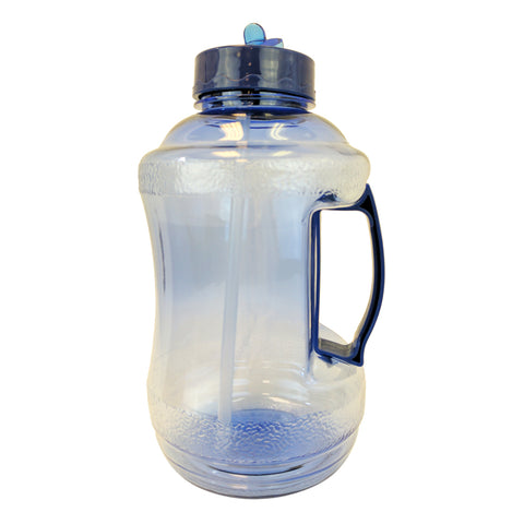 Water Bottle with Drinking Straw - Dark Blue