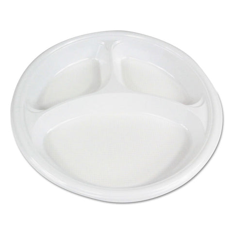 "Boardwalk Hi-Impact Plastic Dinnerware, Plate, 10"" Dia., 3 Compartments, White, 500/Carton"