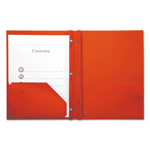 Universal Plastic Twin-Pocket Report Covers with 3 Fasteners, 100 Sheets, Red, 10/PK
