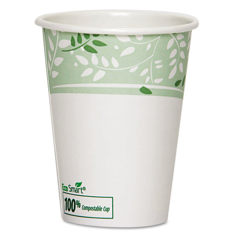 Dixie PLA Hot Cups, Paper w/PLA Lining, Viridian, 12oz, 1000/Carton - White/Green