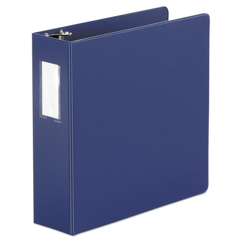 "Universal Economy Non-View Round Ring Binder With Label Holder, 3"" Capacity, Royal Blue"