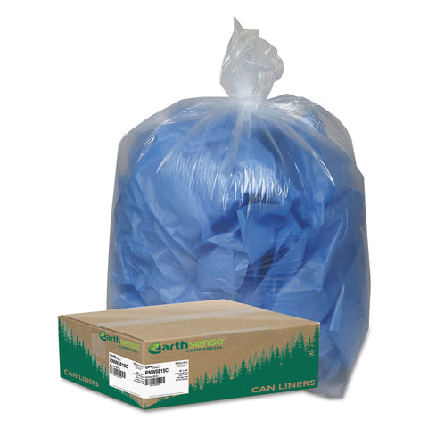 "Earthsense Commercial Linear Low Density Clear Recycled Can Liners, 60 gal, 1.5 mil, 38"" x 58"", Clear, 100/Carton - Clear"