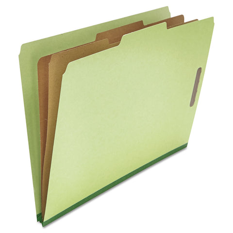 Universal Four-, Six- and Eight-Section Classification Folders, 2 Dividers, Legal Size, Green, 10/Box - Green / Legal
