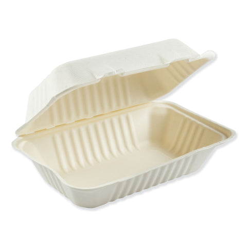 Boardwalk Bagasse Molded Fiber Food Containers, Hinged-Lid, 1-Compartment 9 x 6, White, 125/Sleeve, 2 Sleeves/Carton - White