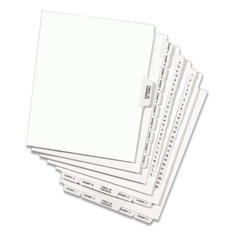 Avery Preprinted Legal Exhibit Bottom Tab Index Dividers, Avery Style, 27-Tab, Exhibit A to Exhibit Z, 11 x 8.5, White, 1 Set