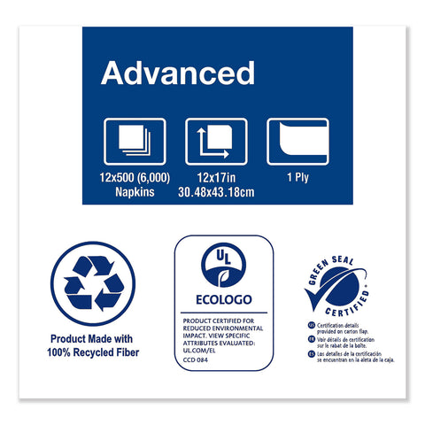 "Tork Advanced Masterfold Dispenser Napkin, 1-Ply, 12"" x 17"", Natural, 500/PK, 12PK/CT"