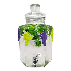 3 Gallon Glass Beverage Dispenser Crock With Grape Decal With Glass Lid - Perfect for Serving Wine - 3 Gal.