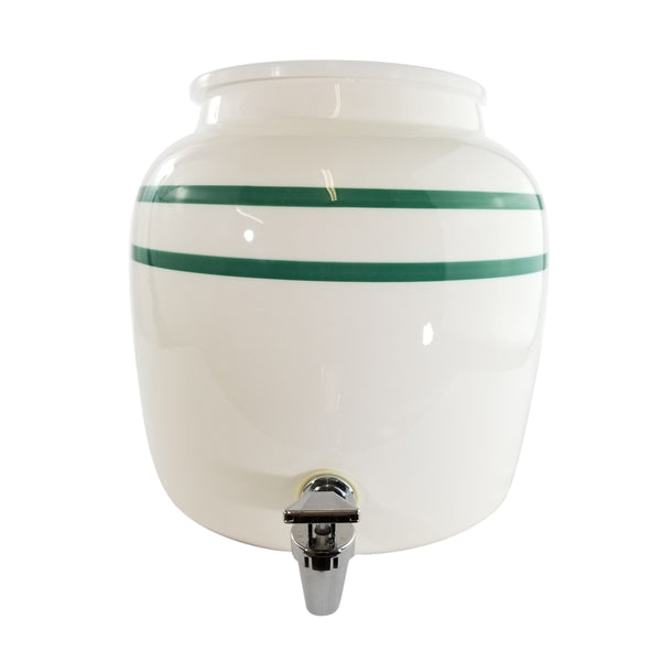 2.5 Gallon Porcelain Water Crock Dispenser With Crock Protector Ring and Faucet - Green Stripe