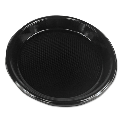 "Boardwalk Hi-Impact Plastic Dinnerware, Plate, 10"" Diameter, Black, 500/Carton"
