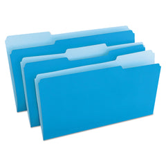 Universal Deluxe Colored Top Tab File Folders, 1/3-Cut Tabs, Legal Size, Blue/Light Blue, 100/Box - Blue/Light Blue / Legal