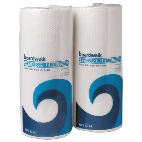Boardwalk Household Perforated Paper Towel Rolls, 2-Ply, 9 x 11, White, 100/Roll, 30 Rolls/Carton