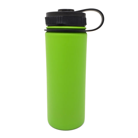 18 oz Double Wall 18/8 Pro-Grade Stainless Vacuum Sealed Big Mouth Water Bottle with Leak-Proof Black Stay-On Cap  | Great For Alkaline Water Storage - Green