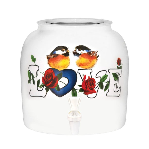 2.5 Gallon Porcelain Water Crock Dispenser With Crock Protector Ring and Faucet - Love Birds