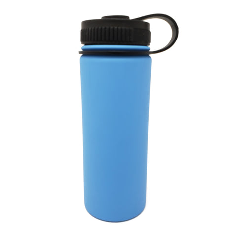 18 oz Double Wall 18/8 Pro-Grade Stainless Vacuum Sealed Big Mouth Water Bottle with Leak-Proof Black Stay-On Cap  | Great For Alkaline Water Storage - Light Blue - Light Blue / 18oz