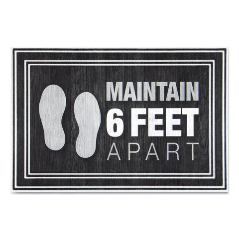 "Apache Mills Message Floor Mats, 24 x 36, Charcoal, ""Maintain 6 Feet Apart"""