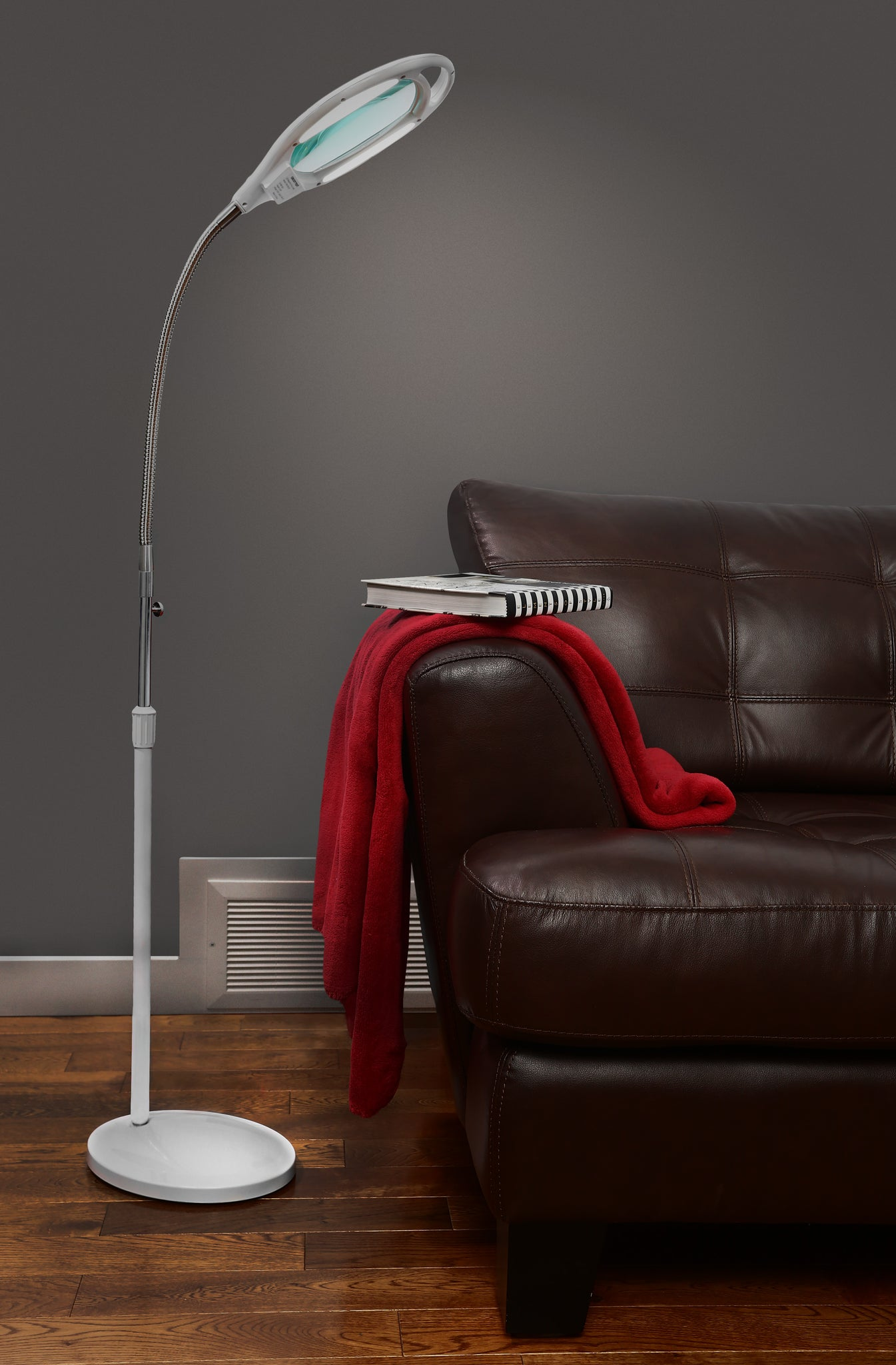 Led Magnifying Floor Lamp With Adjustable Gooseneck 1 75x Magnificat Vision Lighting Products Ltd