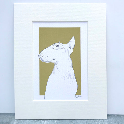 Personalised Bull Terrier Dog Line Drawing Print