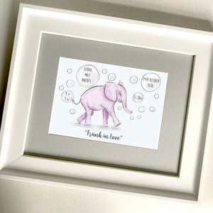 "Personalised ""Baby Elephant"" New Baby Print"