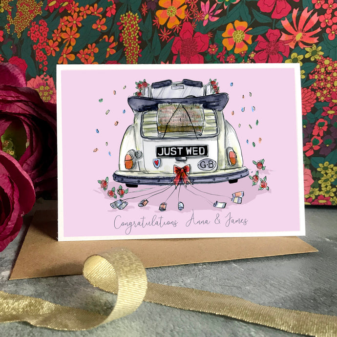 Personalised Vintage Wedding Car Congratulations Card