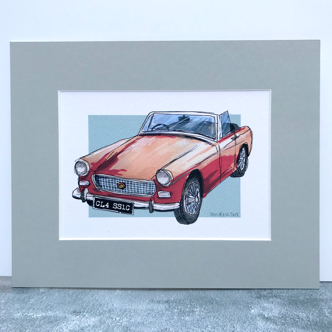Personalised MG Classic Car Print