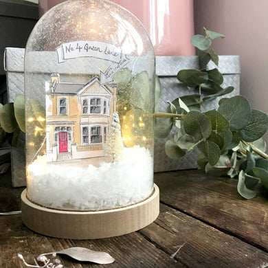 Handmade Christmas Snow Globe with bespoke House illustration