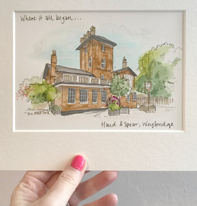 "Personalised ""Where it all Began..."" First Date Illustration"