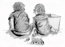 Bespoke Pencil sketch of Children (no faces)