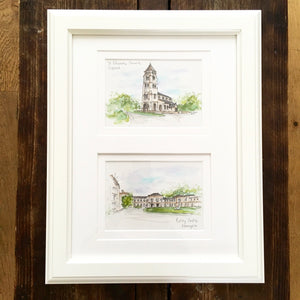 Personalised Double Wedding Venue Illustration