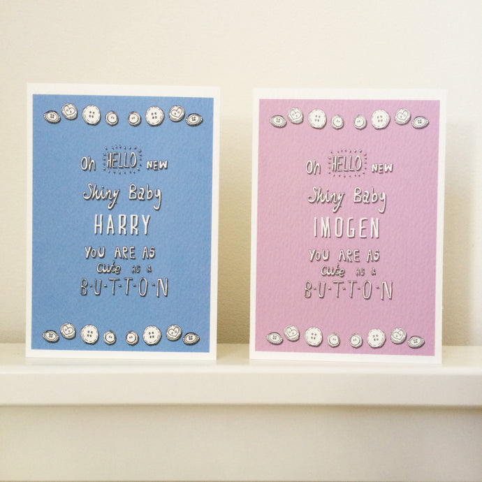 Personalised 'Cute as a button' New baby card