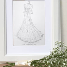 Personalised Wedding Dress Hand Drawn Illustration