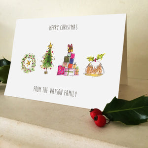 Personalised Illustrated Family Christmas Card