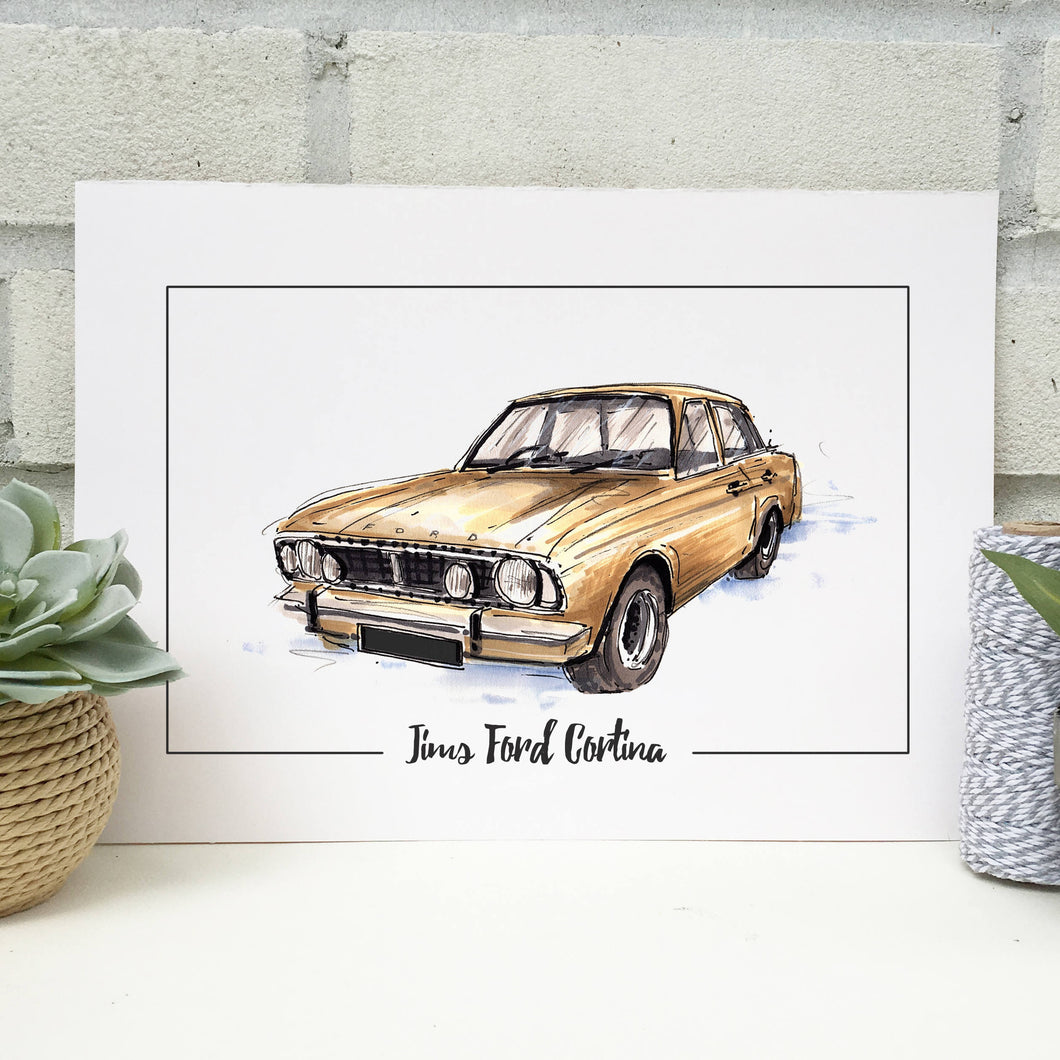 Personalised Ford Cortina Classic Car Print