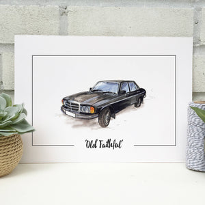 Personalised Mercedes Benz Classic Car Print
