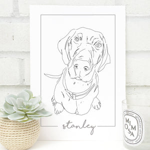 Personalised Pointer Dog Line Drawing Print