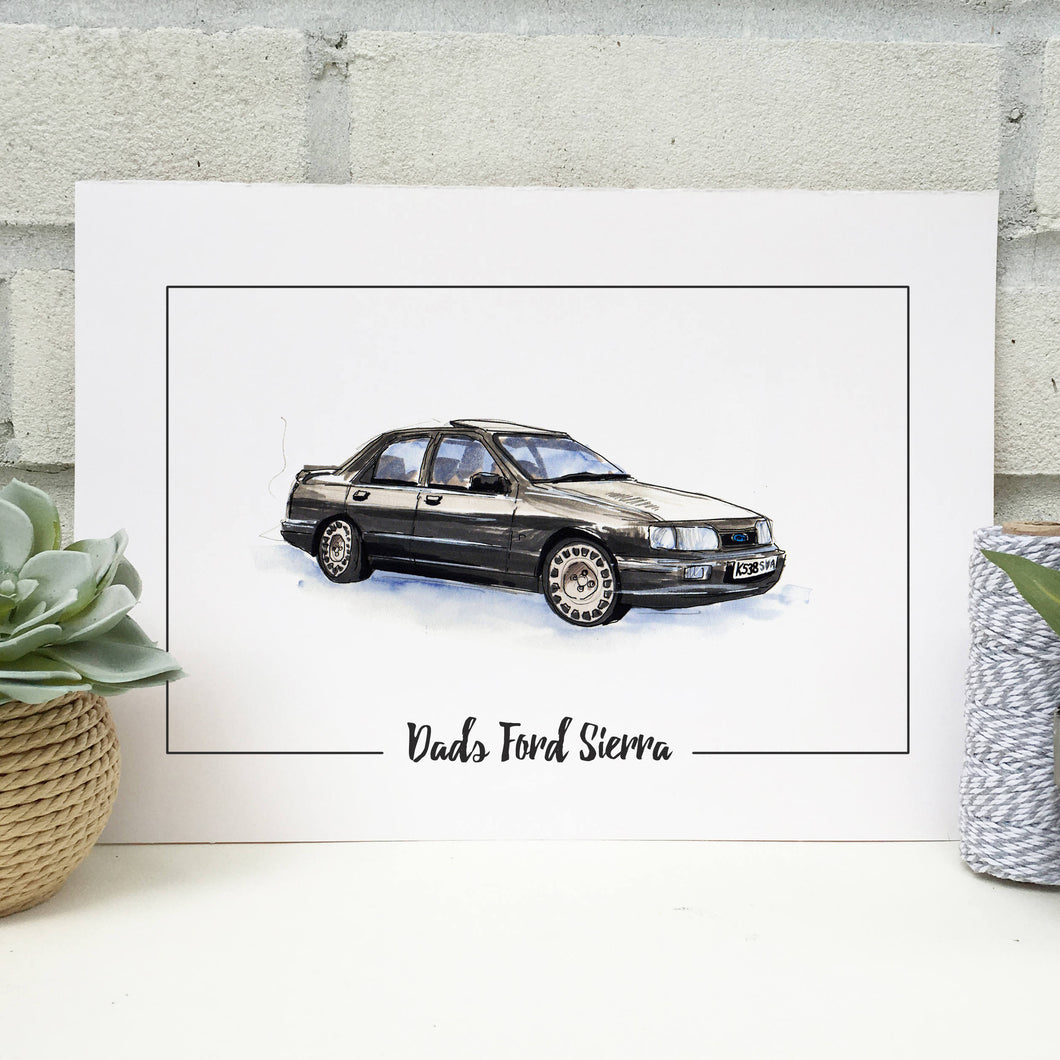 Personalised Ford Sierra Classic Car Print