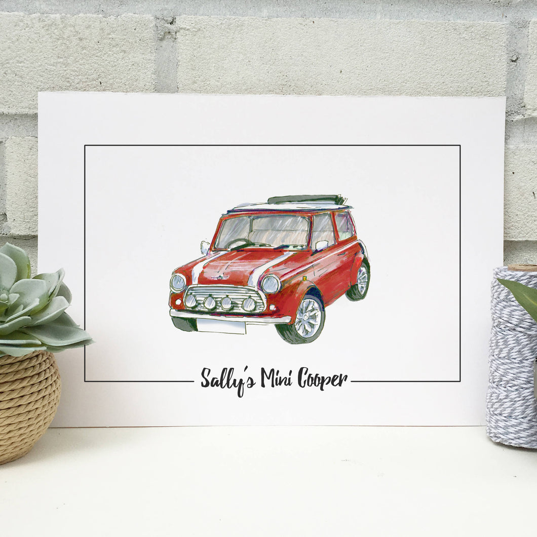 Personalised Mini Cooper Classic Car Print