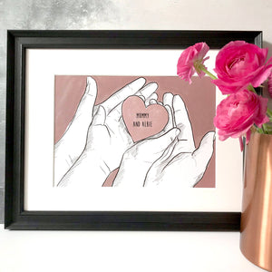 Mummy And Me 'Heart In Hands' Print