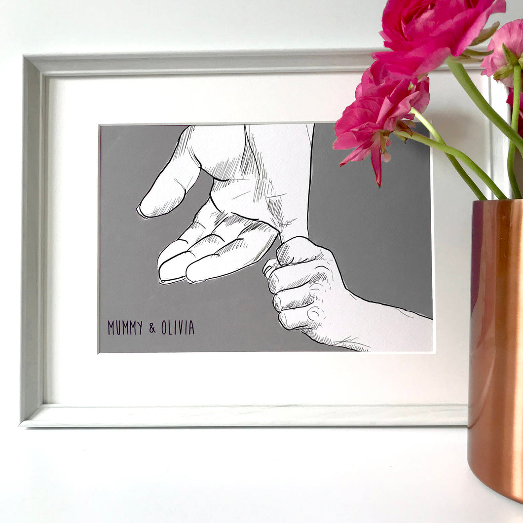 Mummy And Me 'Holding Hands' Print