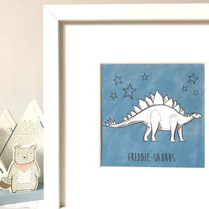 Childrens Personalised Dinosaur Print