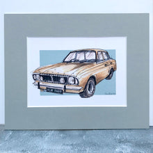 Personalised Classic gold Ford Cortina Car Print