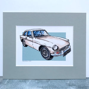 Personalised Classic white MG Car Print