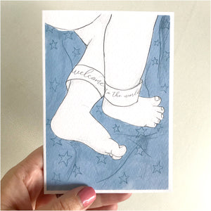 Newborn baby feet 'Welcome to the World' card