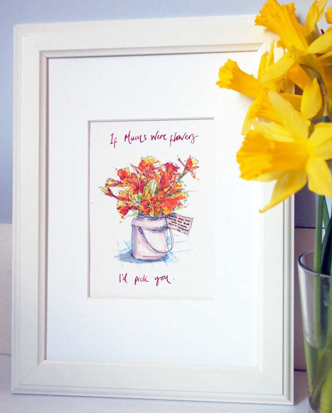 Personalised Flowers Mothers Day Print