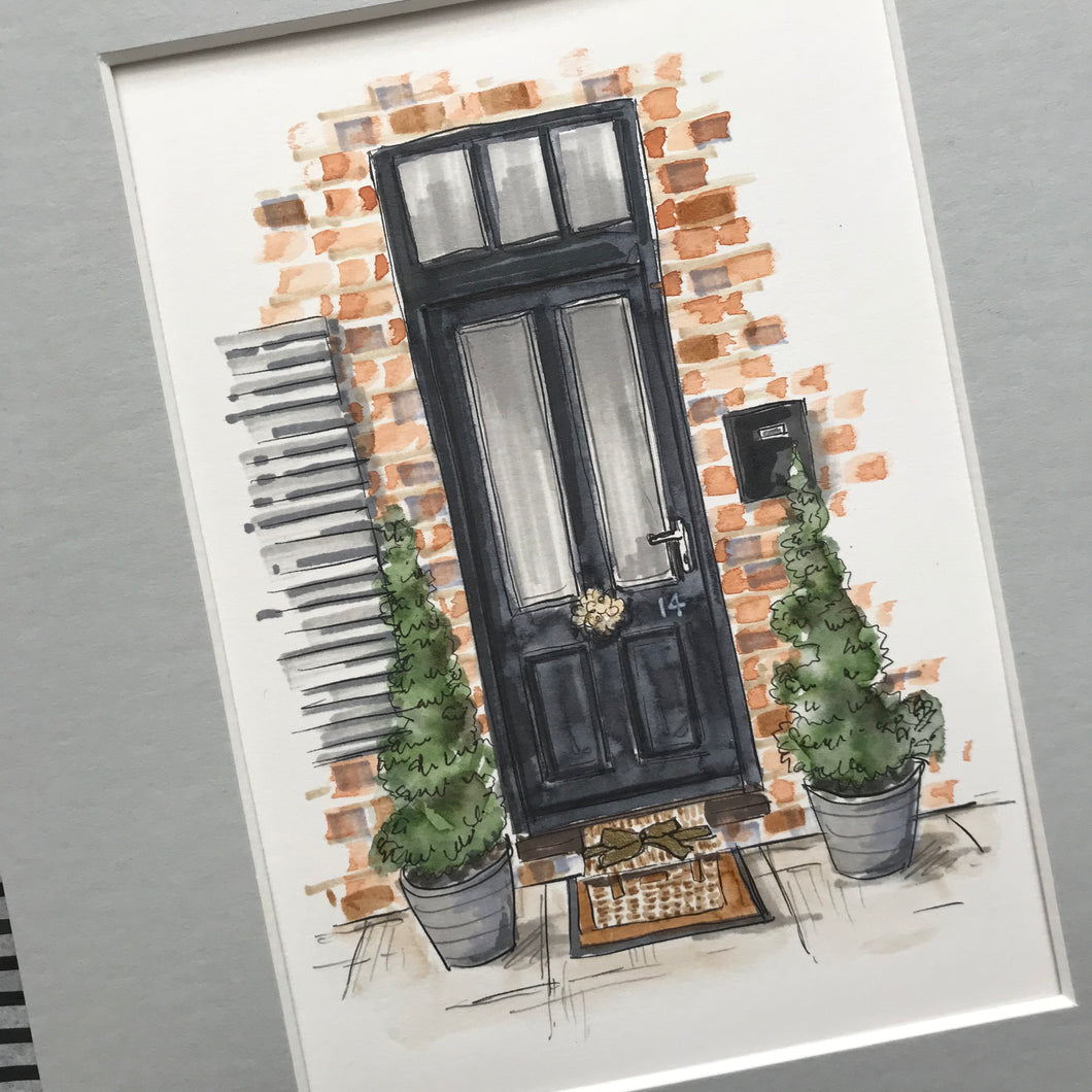 Personalised Hand Drawn Front Door Illustration