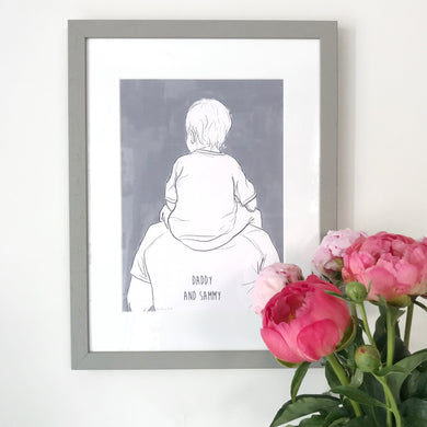 Daddy And Me 'Shoulder Ride' Print (little boy)