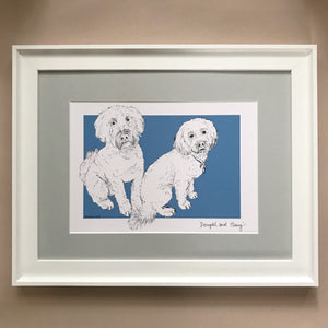 Personalised Pet Portrait with colour background
