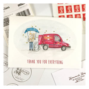 Personalised 'First Class Postie' Card