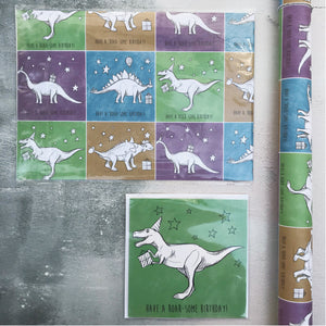 Dinosaur Birthday Card and Wrapping Paper Set
