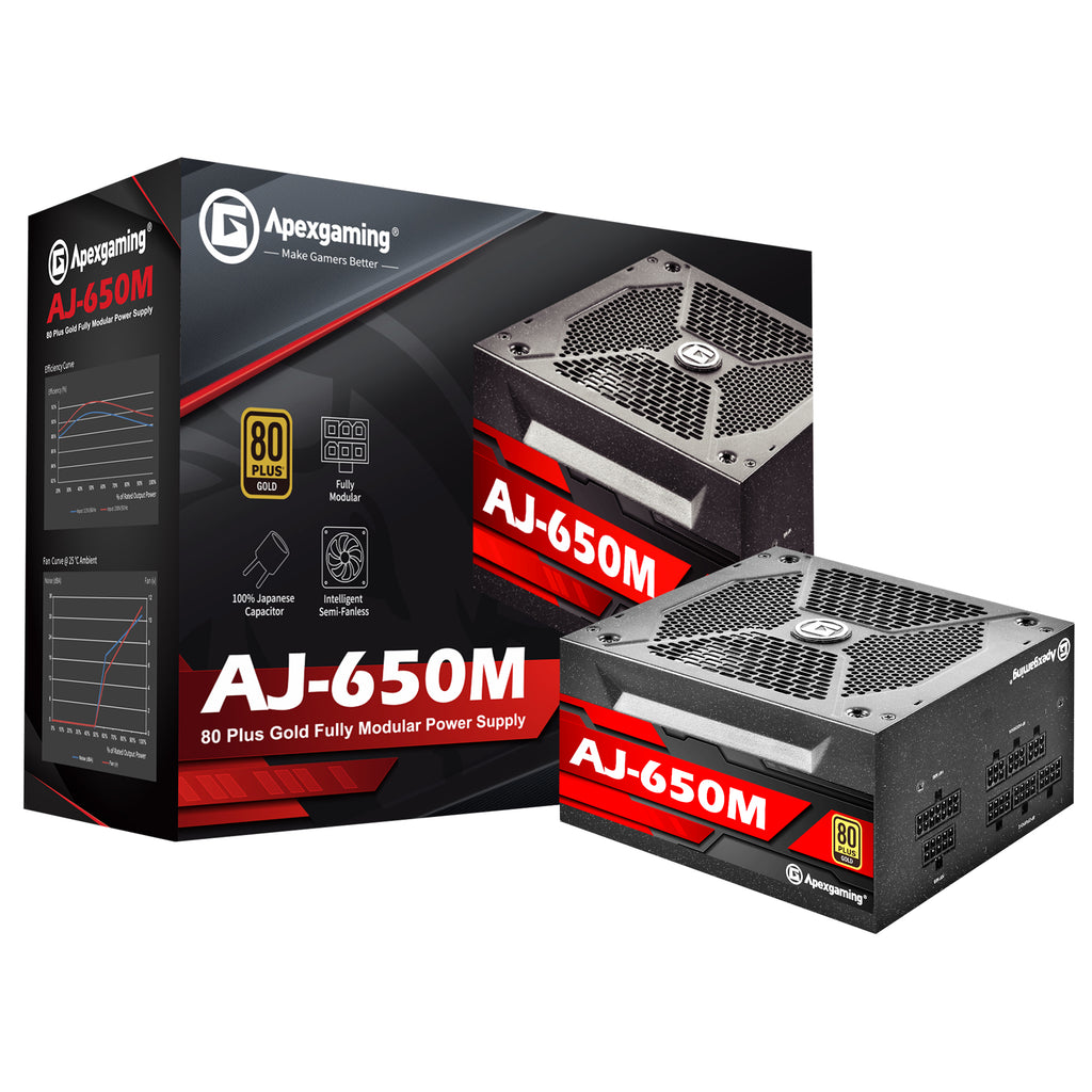 Apexgaming AJ-650M 650Watt 80 PLUS Gold Fully Modular